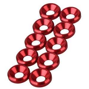 bqlzr en aluminium anodisé rouge 3mm M3Boulons pour fraise conique 3lèvres Rondelle entretoise pour 1: 10RC Voiture sur Off Road Drift Lot de 10
