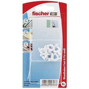 Fischer 531116 Fast & Fix Lot de 8 Crochets muraux Blanc
