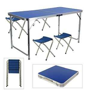 Generic classer kit pour Olding avec chaises R Cam Camping fête R Camping PA Portable Table Pliante Jardin DIN Pique-Nique Jardin Salle à Manger Couleur aléatoire