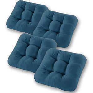 Gräfenstayn® Ensemble de 4 Coussins 40x40x8cm pour l'intérieur et l'extérieur – Housse 100% Coton – Plusieurs Couleurs – Rembourrage épais Coussin matelassé/Coussin Sol (Bleu foncé)