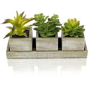 MyGift Lot de 3plantes artificielles réalistes W/style rustique en bois Marron Pots de fleurs carré, plateau rectangulaire