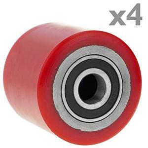 primematik qr76-vces roue pour transpalette rouleau de polyuréthane de 80x 70mm 800kg 4-Pack (qr76), rouge