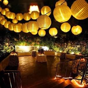 Qedertek Guirlande Solaire Extérieure 6M 30 LED Guirlande Lumineuse Lanterne Blanc Chaud Lumière Decorative pour Noël, Jardin, Mariage, Terrasse, Balcon