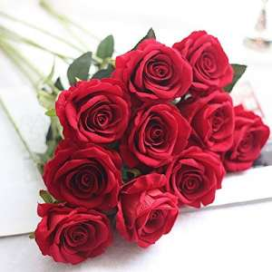 QHJ Artificielle Fleurs Artificielle Faux Roses Flanelle Fleur Bouquet De Mariée Fête De Mariage Décor À La Maison (H)