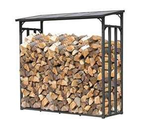 QUICK STAR Support de bois de chauffage 143x70x145cm grille de bois de chauffage cheminée poêle à bois étagère