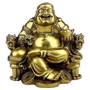 Statue de Bouddha Maitreya Rieur Assis sur sur Chaise d'Empereur en Laiton Sculpture de Chaise pour l'intérieur ou l'extérieur Décoratif Ornement Fait à la Main Fengshui
