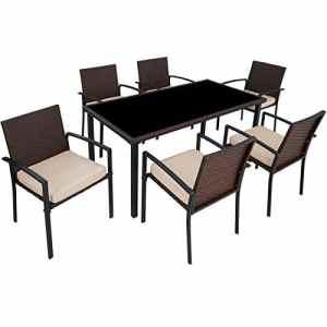 TecTake 800663 Salon de Jardin 6 Chaises 1 Table en Résine Tressée – diverses Couleurs – (Marron | No. 403028)