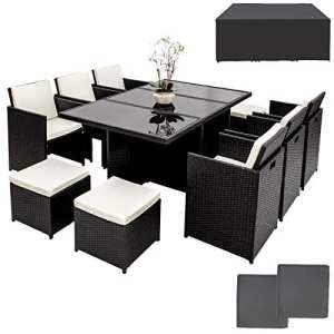 TecTake Ensemble Salon de jardin en Résine Tressée Poly Rotin Aluminium Table Set 6+1+4 avec deux set de housses + housse de protection, vis en acier inoxydable – diverses couleurs au choix – (Noir)