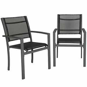 TecTake Lot de 2 Chaises de Jardin ou Terrasse, Construction Robuste et Stable – diverses Couleurs au Choix – (Gris Foncé | No. 402064)