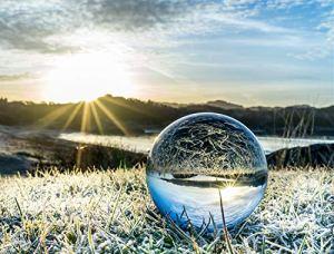 AROGEAR Clair Boule de Cristal avec Support Art Décor Cristal K9Prop Photographie Décoration 70mm