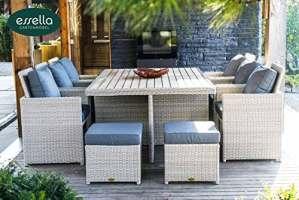 'Bomey «Vienna Lot de 6personnes Polywood–rundgefl véritable–Vintage teinté blanc–meubles de jardin–Meubles