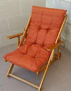 Chaise lounge en bois pliable – Coussin rembourré – Orange uni