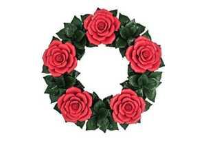 Décoration de Couronnes pour Maison ou Jardin – Roses rouges – Décoration florale en céramiques – Fleurs de Funéraire – Composition de Fleurs Tombe – Fleurs de Cimetière – imperméable