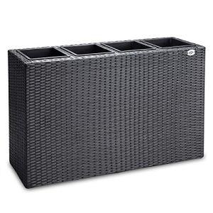 Deuba   Bac à Fleurs • polyrotin Noir • 4 Compartiments • 95 x 27 x 60 cm  Pot Fleurs, bac Vertical, intérieur, extérieur