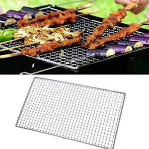 EMVANV BBQ Grill Antiadhésif de Maille en Acier Inoxydable Net Wirefor Camping Barbecue extérieur Pique-Nique (30cm x 45cm, comme la Photo)