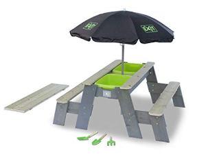 EXIT Aksent Table Sable Eau et Pique-Nique+ 2 Bancs + Parasol + Outils Jardin