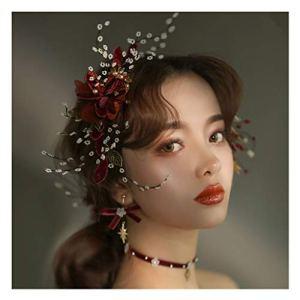 Fleur Couronne Mariée Coiffure Vin Tête Rouge Collier De Fleurs Dîner Mariage Toast Robe Accessoires De Cheveux &Guirlande de Fleurs (Couleur : B)