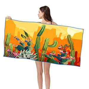 Forart Coucher de Soleil Serviette de Plage Doux Séchage Rapide Sable Preuve Gratuite Serviette de Bain en Microfibre Tapis de Yoga Couverture de Pique-Nique