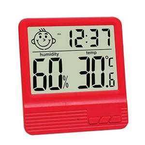 GuDoQi Thermomètre Numérique Électronique Thermomètre De Bureau À L'Intérieur Chambre De Bébé Hygromètre Électronique Avec Fonction De Réveil Rouge