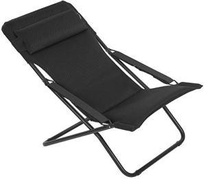 Lafuma Chaise longue, Pliable et réglable, Transabed, Air Comfort, Couleur: Acier, LFM2853-6135