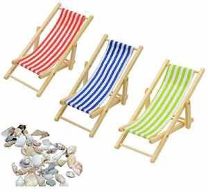 Liuer 3pcs 1:12 Miniature Pliable Chaise De Plage en Bois Chaise Longue Mini Meubles Accessoires avec Plage De Rayures Pelouse Chaise Longue pour Maison de poupée Accessoire de Jardin