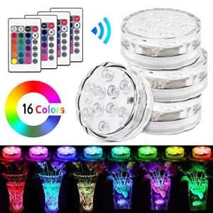 Lumière LED Submersible, Aodoor LED Lumière Submersible Étanche avec la Télécommande Changement de Couleur pour Base de Vase, Fête de Maison,4 Paquets