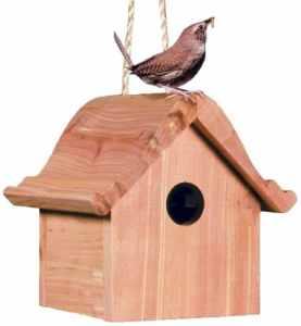 Perky-Pet Nichoir pour petits oiseaux – Cabane en bois de sapin avec toit et corde de suspension pour protéger les oiseaux #50301