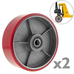 PrimeMatik qr95-vces Roue pour transpalette Rouleau de polyuréthane de 200x 50mm 950kg 2-Pack (qr95), Rouge