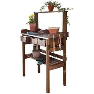 Pureday Tavolo da giardinaggio, 3 cassetti, 3 ganci, Legno, Piano di Lavoro in Metallo zincato, Marrone, ca. L 78 x P 38 x A 112cm