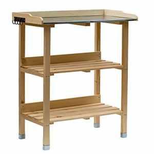 RM Design Table de plantation en bois avec plateau en métal et 2 étagères, résistante, pour jardin, balcon, terrasse, 76x38x91cm 76 x 38 x 91 cm naturel