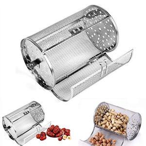 SADA72 Panier à Four en Acier Inoxydable Antiadhésif Durable Cuisson Four Rôtissage Rotatif Noix Beans Panier Barbecue Grill