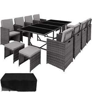 TecTake 403057 Ensemble Salon de Jardin en Résine Tressée Poly Rotin Table Set 8+1+4 + Housse de Protection, Vis en Acier Inoxydable, Gris