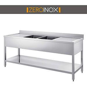 ZeroInox Lavabo avec sous-Plan 2 bacs et 2 gouttelettes – Profondeur 60 et 70 cm – 2 mètres Acier INOX AISI 304 Professionnel