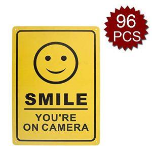 aspire Smile You're on Camera Panneau de vidéosurveillance en aluminium pour maison, maison et entreprise, Smile/96pcs, 10″ W x 14″ L