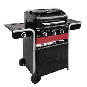 Barbecue hybride Char-Broil Gas2Coal 330 – Barbecue à gaz et charbon à 3brûleurs, finition noire.