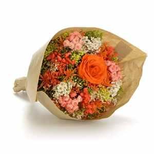 Bouquet-Garden- Sanremo fleurs séchées de la Riviera dei Fiori avec une rose préservée (Orange)