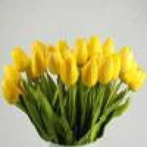 Coloré(TM) Feuille artificielle Flower laisser Tulipe Fleur artificielle Latex Real Touch mariée mariage Bouquet Home Decor, 10 pcs (Jaune)