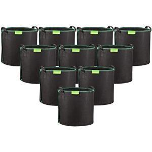GardenMate 10X Sacs à Plantes 30L en Non tissé – Ø 35,6cm Hauteur 30,5cm – Noir/Vert