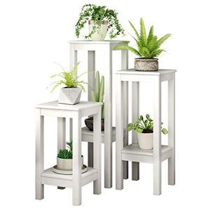 G-HJLXYZWJHOME Plant Cadre IntéRieur Porche PréSentoir Design Moderne Simple Double Fleur en Bois Massif Stand Mobilier De Bureau DéCoration (Combinaison De 3 PièCes)