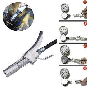 LSCOFFEE Coupleur de Graisse Durable de Type de Serrage en métal à libération Rapide pour la Graisse, Silver, A