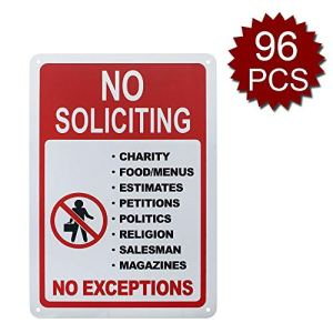 Panneau en aluminium de qualité supérieure avec inscription « No Soliciting No ExCEPTIONS », « Do Not Disturb », imprimé UV, No Soliciting/96pcs, 7″ W x 10″ L