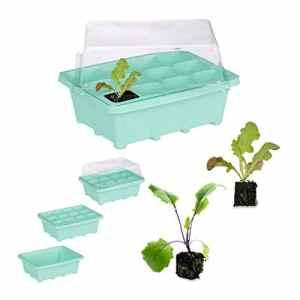 Relaxdays Serre d'intérieur 12 Plantes, Couvercle, Mini Serre, Rebord de fenêtre, Balcon, bac de Culture 18,5 x 14,5 cm Vert