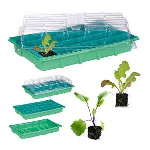 Relaxdays Serre d'intérieur 24 Plantes, Couvercle, Mini Serre pour fenêtre, Balcon, bac de Culture 38 x 24,5 cm Vert
