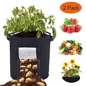 Sacs à Plantes Legumes Croissance Sac – 2 Pcs 46 Litres/12 Gallon Sac de Plantation de Pommes de Terre, Pots de Plantation en Tissu de Feutre Respirant à Double Couche avec Poignées (Noir)