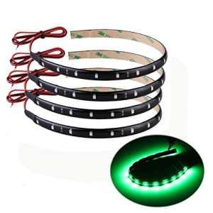 TOOGOO(R) 4 X Bande Eclairage Flexible Lampe 15 LEDs 30cm 12V Etanche Vert