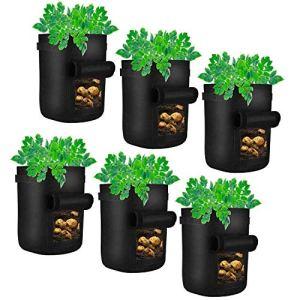 U'Artlines Lot de 6 Sacs de Plantation pour Pommes de Terre avec Rabat Noir 7,6 l