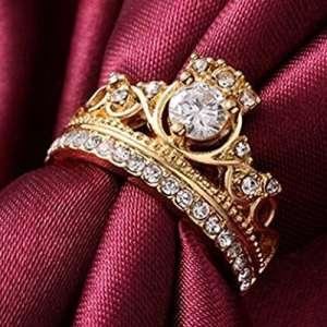 Yesiidor en forme de couronne Bague Mode Doré Pretty Couronne Lady zircon Bague Diamant Princesse Bague Bijoux, Alliage, doré, 8