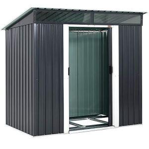 Gardebruk® Abri de jardin en acier galvanisé 3,35m³ 2 fenêtres fondation incluse porte coulissante cabane de jardin outils