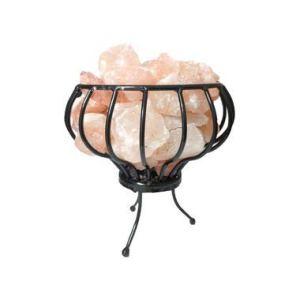 Lampe de sel de l'Himalaya – Brasero avec support en fer forgé