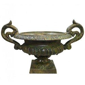 L'Héritier Du Temps Vase Vasque Chambord Jardinière de Pilier Pot de Fleur en Fonte Vert Anglais 29x31x44cm